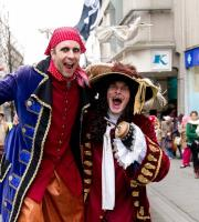 Our Bouncing Bucaneers joined the Captain, pirates and their ship for the first time at the Bradford Pirate Parade, entertaining shoppers with their hilarious capers.