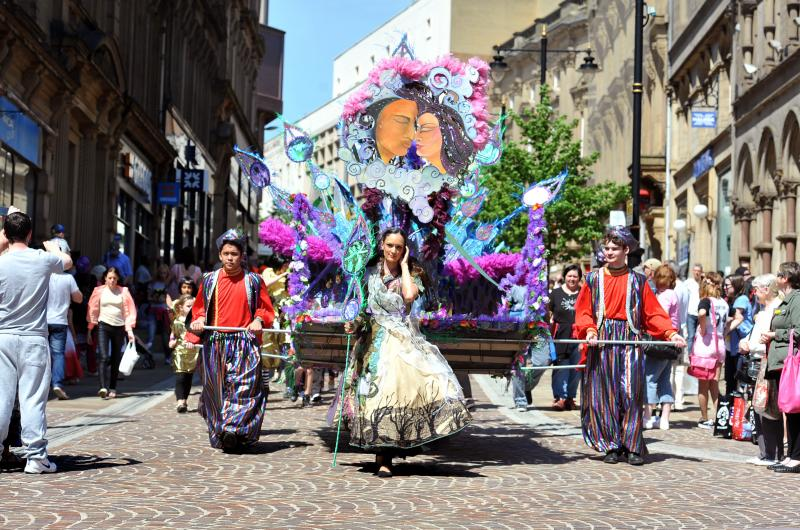 Which graced the streets of Bradford, led by a Bollywood take on Emily Brontë's